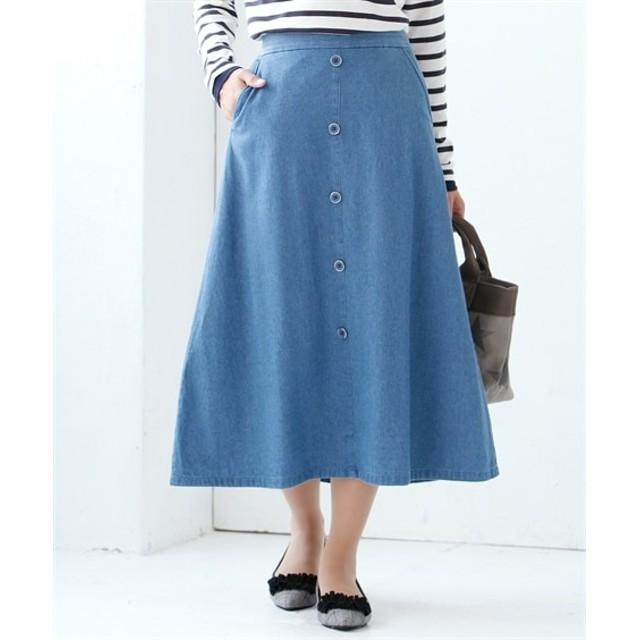 小さいサイズ ライトオンスデニム飾りボタン使いロング丈フレアスカート 【小さいサイズ・小柄・プチ】ジャンパースカート
