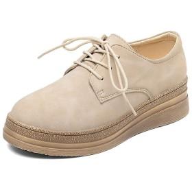 [イグル] ヴィンテージシューズ オックスフォード レディースレースアップシューズ ベージュ 24.5cm 靴 黒 歩きやすい 痛くない 疲れない 柔らかい オシャレローカット 可愛い 通学 ラウンドトゥトゥ カジュアル 魅せ美脚 スニーカー 厚底