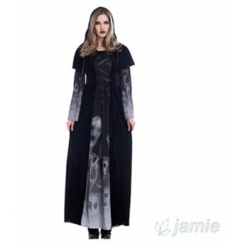 ハロウィン 吸血鬼 大きいサイズ 髑髏 魔女服 コスプレ ロング丈ワンピース 大人用 ドクロ レディース コスチューム
