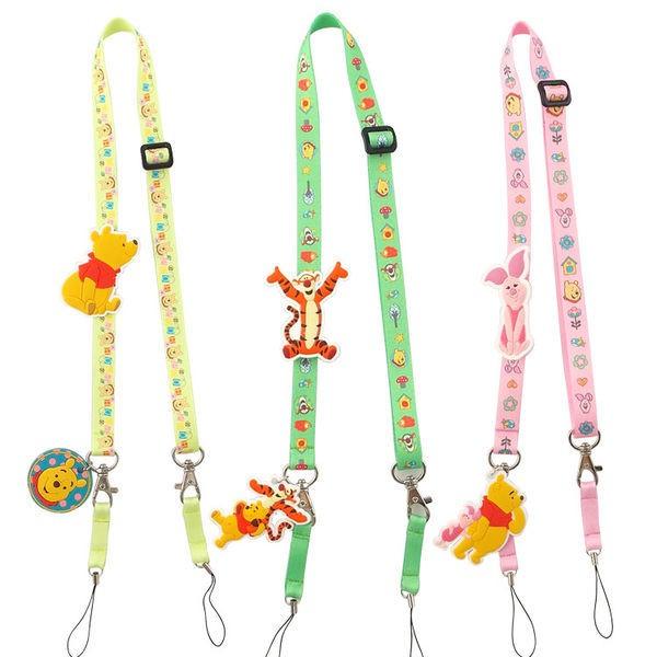 【Disney】 可愛造型零件手機袋吊繩/識別證帶-維尼系列