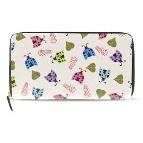 長財布 財布 二つ折り ラウンドファスナー 個性的 Cute Background With Ladybugs PUレザー 本革 大容量 通学 通勤 レディース メンズ 男女兼用