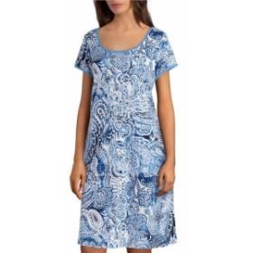 ミス エレーン Miss Elaine レディース ワンピース ワンピース・ドレス Interlock Knit Paisley Print Lounge Dress Navy Paisley