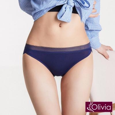 【Olivia】奢華蕾絲牛奶絲無痕中腰內褲-藍色