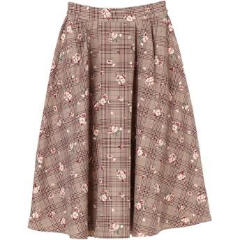 【5,000円以上お買物で送料無料】チェックオンフラワープリントスカート