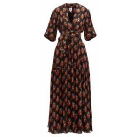 ギュル ヒュゲル Gul Hurgel レディース ワンピース ワンピース・ドレス Floral-print shawl-collar dress navy/print
