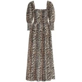 ガニー Ganni レディース ワンピース ワンピース・ドレス Cotton and silk midi dress Leopard