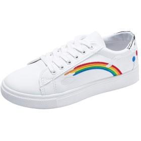 [AcMeer] ローカット レディース スニーカー レインボー 虹柄 きれい カジュアル レースアップ フラット感 学生 滑りにくい ランニング トラベル 可愛い 通気 軽量 スポーツシューズ ホワイト 白