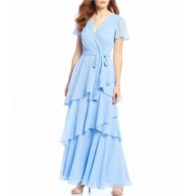 タハリ Tahari ASL レディース パーティードレス ワンピース・ドレス Flutter Sleeve Tiered Chiffon Long Dress Periwinkle