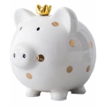 【お取り寄せ】貯金箱 置物 冠をかぶったブタさん ドット柄 陶器製 (ゴールド)
