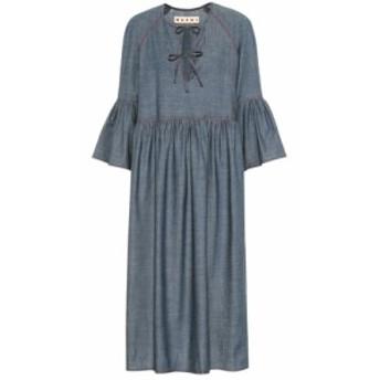 マルニ Marni レディース ワンピース ワンピース・ドレス Stretch-cotton chambray midi dress Zaffiro