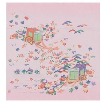 宮井 ふろしき 絹68cm幅 御所車 ピンク 11-4751-15