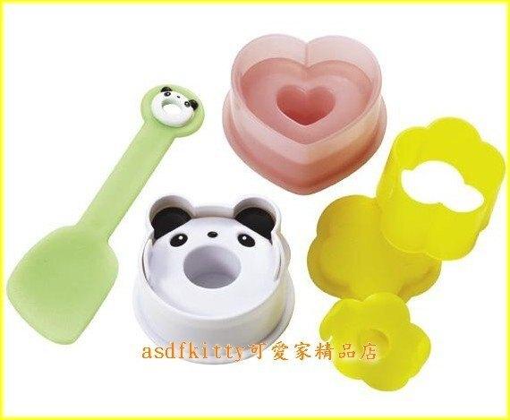 廚房【asdfkitty】愛心熊貓小花包餡飯糰模型含小飯匙-日本msa正版商品