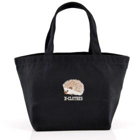 [X-CLOTHES] ミニトートバッグ バッグ ランチバッグ ワンポイント 刺繍 グッズ レディース キャンバス はりねずみ ハリネズミ ブラック 黒 Black ハリネズミ2
