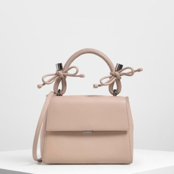CHARLES&KEITH チャールズ アンド キース Double Bow Leather Top Handle Bag