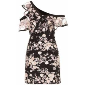 セルフ ポートレイト Self-Portrait レディース ワンピース ワンピース・ドレス Floral-embellished minidress Black