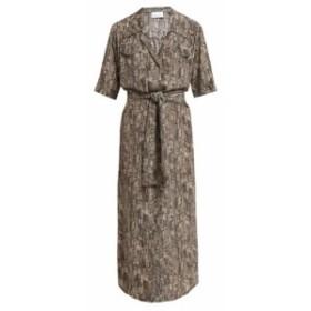 レイ Raey レディース ワンピース ワンピース・ドレス Broken stripe-print silk shirtdress grey