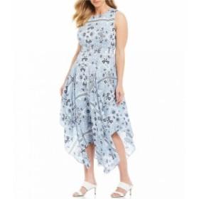 カルバンクライン Calvin Klein レディース ワンピース ワンピース・ドレス Plus Size Mixed Print Handkerchief Hem Midi Dress Iceberg