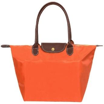 ZhengYue トートバッグ レディース ナイロン 折り畳める ハンドバッグ 防水 通勤 旅行 ショピング 通学 買い物用 大容量 3サイズ (S, オレンジ色)