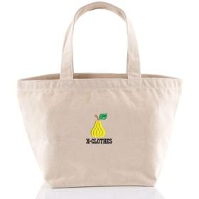 [X-CLOTHES] 刺繍ミニトートバッグ キャンバス フルーツ 洋ナシ2xNatural