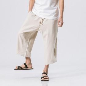 2018 新品 メンズファッション パンツ ロングパンツ サルエルパンツ ゆったり感 麻生地 ZY52903 (XXXXL, ベージュ)