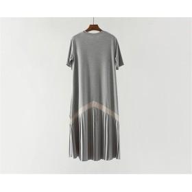 春まで着れる トレンドデザイン 韓国ファッション CHIC気質 おしゃれな 大人気 トレンド 縫付 半袖 プリーツスカート ゆったりする スリム ひざ丈 ワンビース