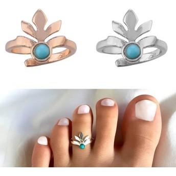 [メンズ レディース 足の指 指輪 ファランジリング] フラワーターコイズ トゥリング 足の指輪 トーリング 足のリング ピンキーリング フリーサイズ シルバー ゴールド fr-00-0338-xx