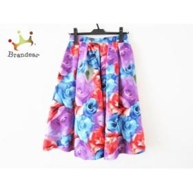 ミカニナガワ ロングスカート サイズ36 S レディース 美品 ブルー×パープル×マルチ 花柄   スペシャル特価 20190918