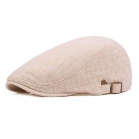 YXJJP ハンチング メンズ ゴルフ 日よけ 丈夫 純色 コットン リネン キャスケット 鳥打帽 55-59cm (Color : 4, Size : Free size)