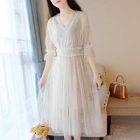 黒 ワンピース マタニティ 白 Aライン レディース 結婚式 ハイウエスト 大きいサイズ 袖あり ドレス ロング