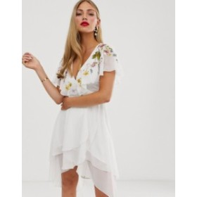 エイソス レディース ワンピース トップス ASOS DESIGN cape back dipped hem midi dress with embroidery White