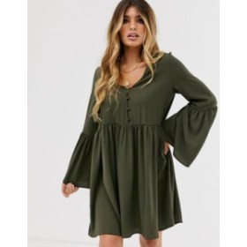エイソス レディース ワンピース トップス ASOS DESIGN button through mini smock dress with fluted sleeves Khaki