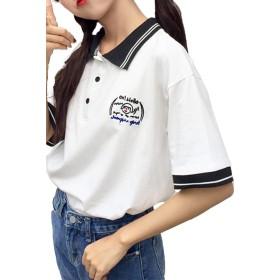 Heaven Days(ヘブンデイズ) ポロシャツ ゴルフシャツ Tシャツ 半袖 カットソー ツートンカラー ボタン ワンポイト レディーズ 1808K0316