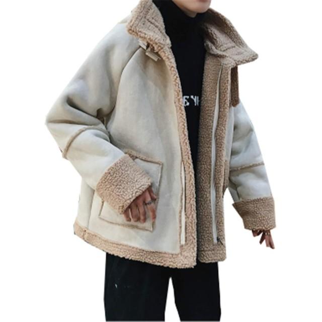 (グードコ) セーム革コート メンズ フェイクムートン 防寒 暖か ファー 裏起毛 ショート丈 スエード ブルゾン 防寒ジャケット ベージュL