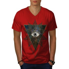 Wellcoda 三角形 眼 クール ファッション 男性用 赤 XL リンガーTシャツ