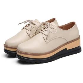 [WOOYOO] レースアップシューズ レディース カジュアルシューズ 革靴 インヒール 厚底 5.5cmアップ 美脚 脚長 ローカット 痛くない 防滑 スニーカー 婦人靴 柔らかい ストーム 春秋 ブラック
