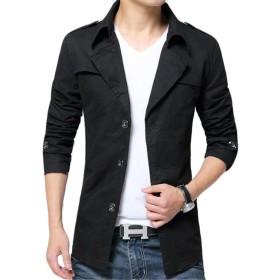 PIITE コート メンズ ジャケット ビジネス ロング丈 アウター おしゃれ 無地 シンプルゆったり カジュアル かっこいい フォマール コート ジャケット 秋 ファッションブラック4