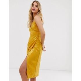 ニュールック レディース ワンピース トップス New Look satin jacquard midi dress in gold Gold