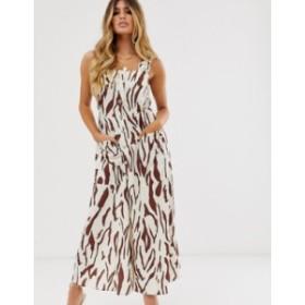 エイソス レディース ワンピース トップス ASOS DESIGN overall maxi dress with buckles in zebra print Zebra print