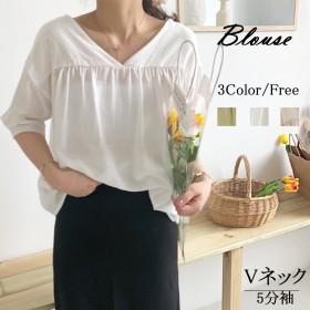 XUNが心から愛しているVネックの綿の上着の女性の夏麻の綿の韓国版の小さいカーディガンの復古の文芸の5分袖の両面は着ます