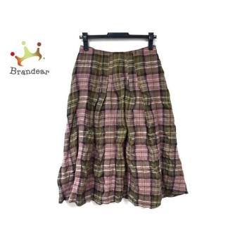 ホコモモラ ロングスカート サイズ40 XL レディース ベージュ×カーキ×マルチ チェック柄 新着 20190726