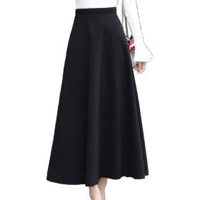 [CAIXINGYI] 秋 冬 ヘアリー スカート レトロ ビッグスイングスカート 大きなサイズ 無地 6色 ロングスカート レディーズ スリム Aラインスカート (L, ブラック)