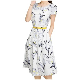 AngelSpace 婦人用の細い腰を半袖パターンaラインワンピース White XL