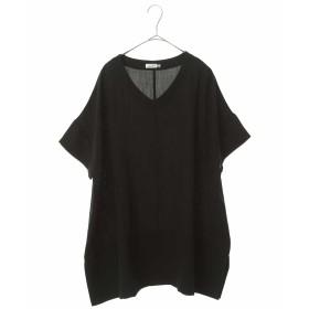 eur3 【大きいサイズ】さらっと着れるVネックスリットチュニック チュニック・ロングシャツ,ブラック