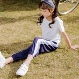 子供服 セットアップ 女の子 夏 半袖 韓國子供服 キッズ 可愛い Tシャツ スラックス 上下2點セット 半袖Tシャツ スラック