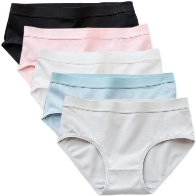 【5枚】 抗菌 綿 女性の下着 伸縮性優れ 通気性 レディースパンティ 無地 無縫製 少女の下着 プレーンショーツ レディースショーツ