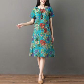 Akane ワンピース 美しい 綺麗 気質 花柄 バラ 緑 ゆったり レディーズ 爽やかな おしゃれ 女性 夏 半袖 自宅 日常 カジュアル プレゼント ドレス (2色) M-XXL 320#