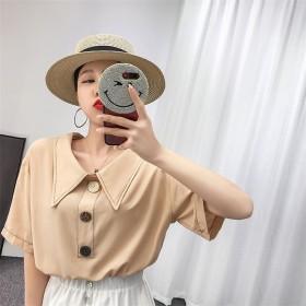お客様から沢山喜びの声をいただきました 2019 夏 新着 ラペル カレッジ風 小さい新鮮な バックル ファッション シンプル シャツ 女性 トップス ゆったりする レジャー シャツ swe