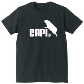 おもしろtシャツ 動物Tシャツ 【カピバラ ジャンプ】【黒T】【L】 PRIME