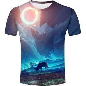 メンズ 半袖Tシャツ 銀河 鹿 トナカイ プリント 3D tシャツ おもしろ 男女兼用 トナカイ動物 柄 カジュアル トップス ゆったり L