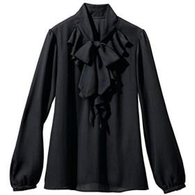 [nissen(ニッセン)] 入園 入学 卒園 卒業 ボウタイフリル ブラウス 吸汗速乾 裏地付 大きいサイズ レディース 黒 3L